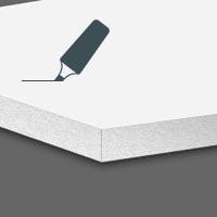 Hartschaumplatten Whiteboardfolie einseitig