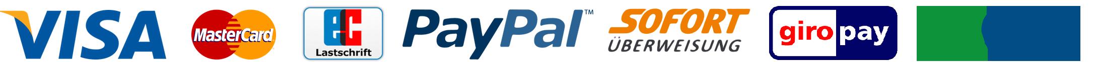 Zahlungsarten Visa, MasterCard, Lastschrift, PayPal, SofortÜberweisung, Giropay, Paydirekt