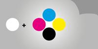 Selbstklebefolie 5/0 - farbig Skala + Weiß (einseitiger Druck)