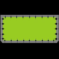 Bannerrahmen System mit Druck Rahmensystem 355 x 190 cm<br>passend für 340 x 175 cm